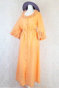 Vintage 70's Dress - Pastel Peach Frilly Housecoat Maxi - Free Size S/M