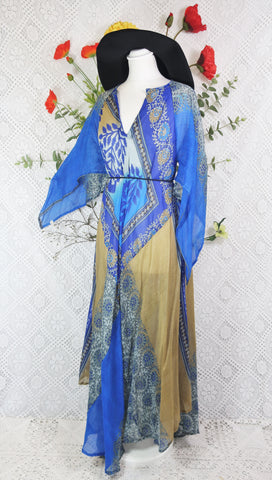 Goddess Dress - Blue & Sand Floral Vintage Cotton Kaftan Maxi Dress (free size)