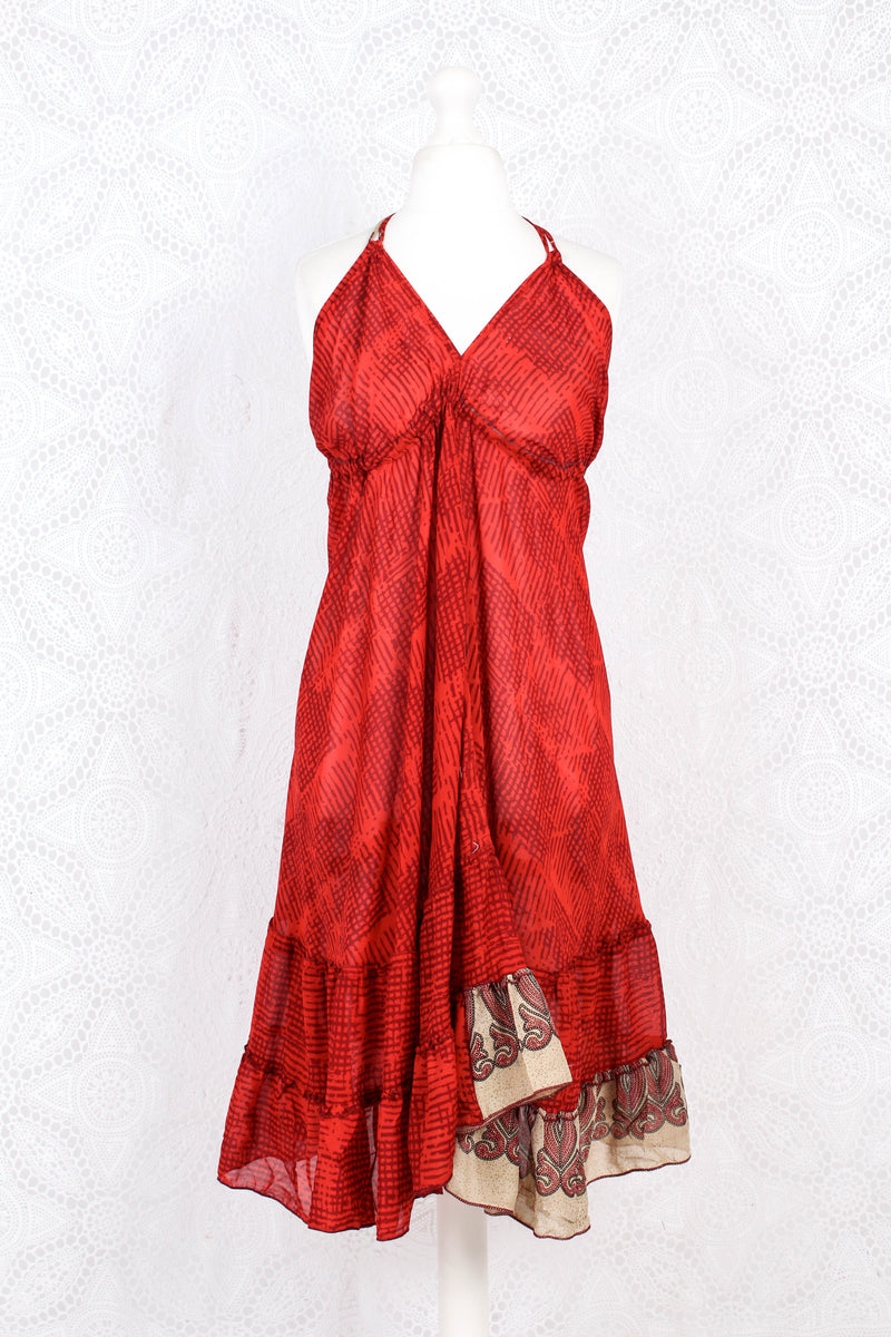 Blossom Mini Halter Dress - Vintage Indian Sari - Sheer Red Scribble - M/L