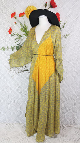 Goddess Dress - Vintage Pure Silk Indian Kaftan - Lemon & Slate Floral - Free Size S/M