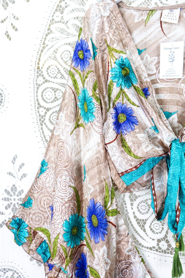 Gemini Wrap Top - Vintage Sari - Cream & Crimson Feather - S/M (free size)