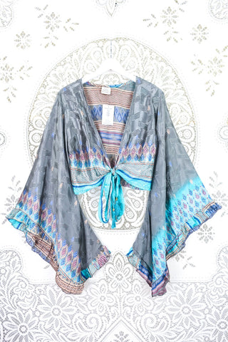 Medusa Halter Dress - Sari Silk Mix - Autumnal Orange & Green (Free Size)