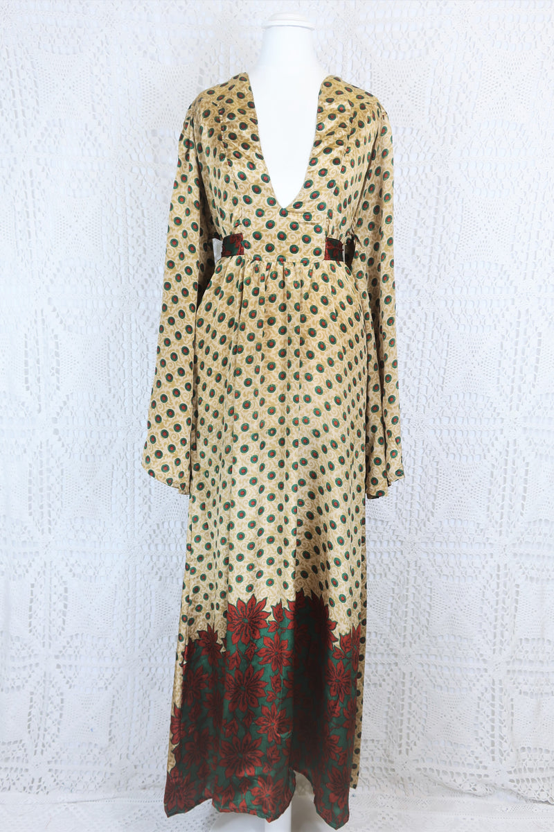Stevie Maxi Dress - Vintage Indian Sari - Biscotti, Emerald & Ruby Floral - M/L