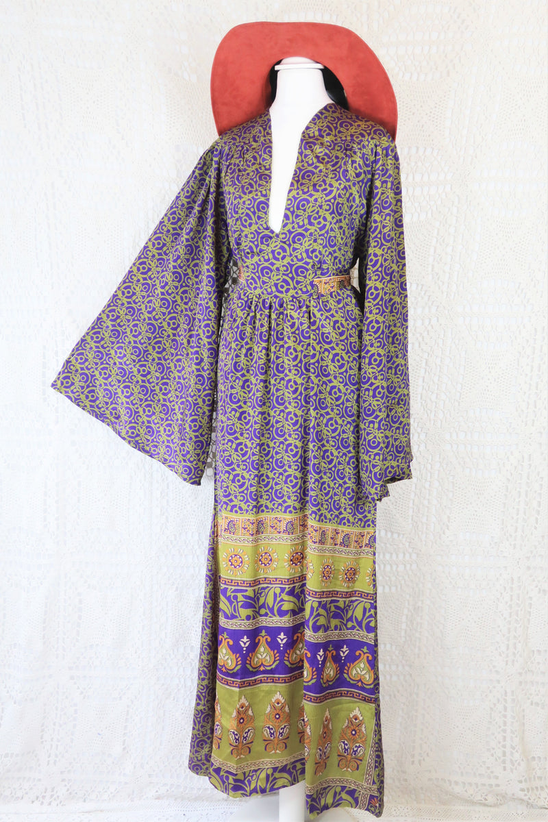 Stevie Maxi Dress - Vintage Indian Sari - Dark Violet & Chartreuse Floral Paisley- S/M