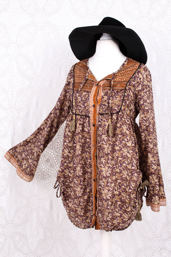 Jude Tunic Top - Vintage Indian Sari - Mauve & Beige Graphic - XS