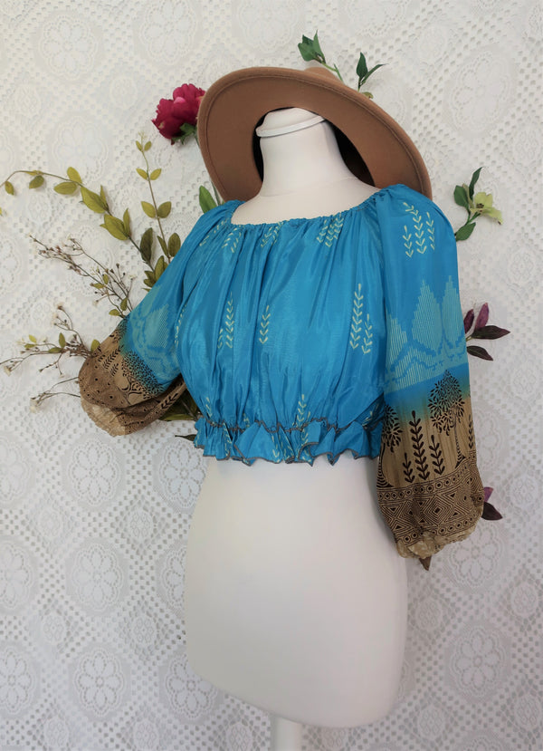 Gypsy Crop Top - Aqua & Tan - Indian Sari Silk (free size)