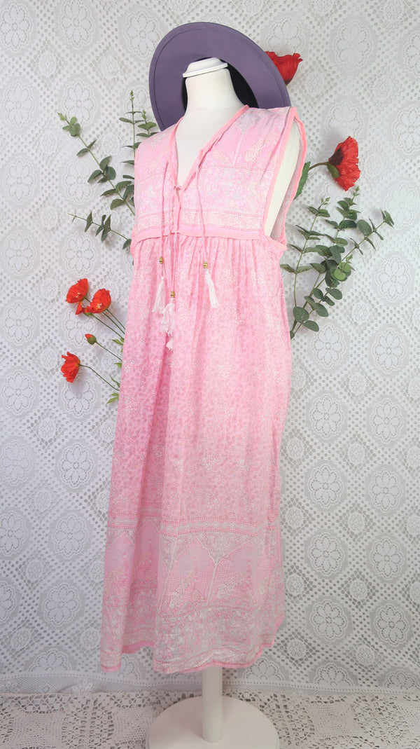 Peacock Sleeveless Midi Smock Dress - Candy Pink Cotton - Size S/M