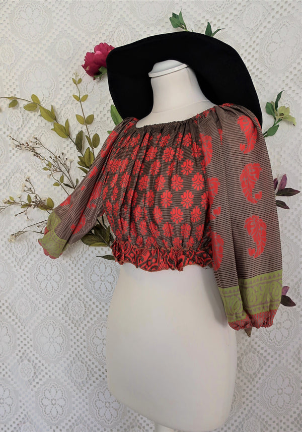 Gypsy Crop Top - Hazel Wood & Red - Sari Silk (free size)