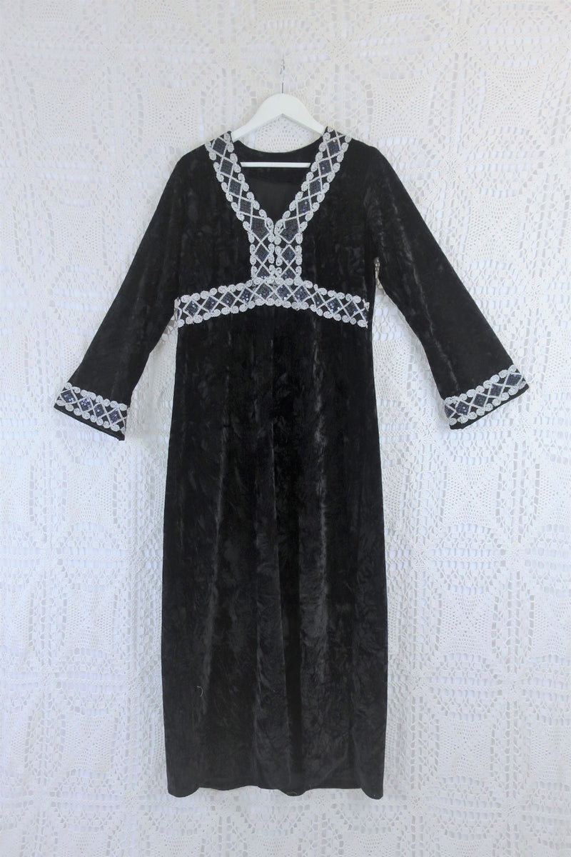 70's Vintage Dress - Velvet Midnight & Silver Embellished Kaftan - Size L