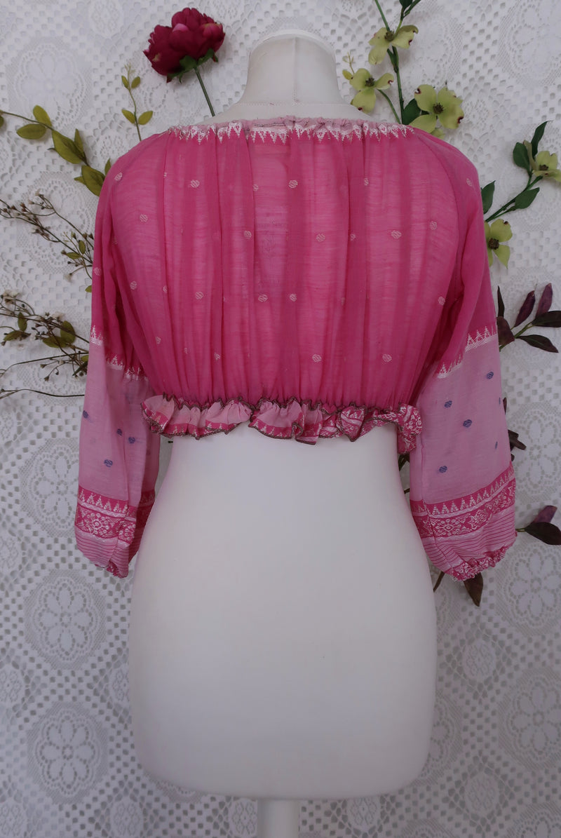 Gypsy Crop Top - Fuscia & Baby Pink Embroidery - Vintage Cotton - (free size)
