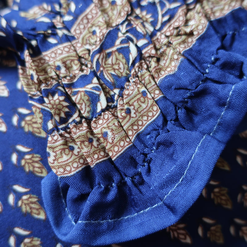 Pearl Top - Vintage Indian Sari - Midnight Blue Floral - Free Size S/M