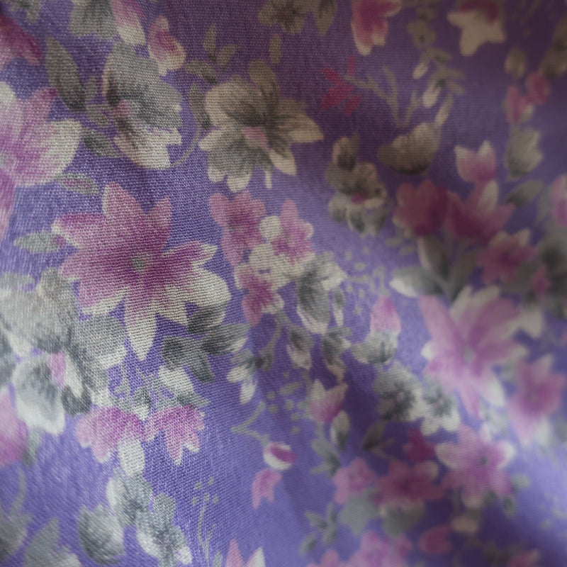 The Ophelia Blouse - Vintage Sari - Lilac & Silver Floral (free size)