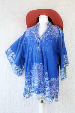 70's Vintage Tunic Top - Blue, Cream & Purple Peacocks - Free Size