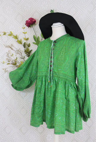 Florence Gypsy Smock Top - Emerald Green Paisley Floral Copper Sparkly Thread (S/M)