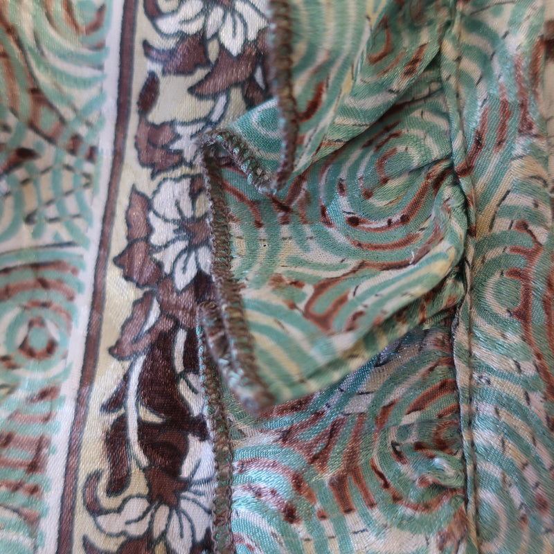 Joplin Frill Dress - Vintage Indian Sari - Pecan & Pistachio - S/M
