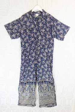 Billie Jumpsuit - Vintage Indian Sari - Midnight Blue Ditsy Floral - XL
