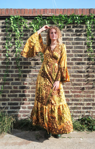 Sylvia Wrap Dress - Vintage Indian Sari - Golden Yellow & Cocoa (XS - S)