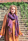 Purple & Hot Pink Reversible Paisley Indian Shawl/Blanket