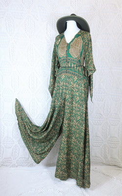 Goddess Jumpsuit - Vintage Indian Sari - Evergreen & Gold Floral Paisley - XS