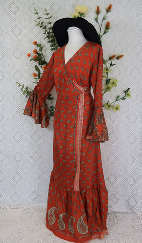 Sylvia Wrap Dress - Vintage Indian Silk - Autumn Orange Paisley