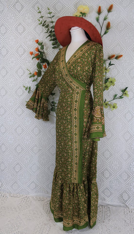 Sylvia Wrap Dress - Vintage Indian Silk - Pear Green, Cream & Sand Floral