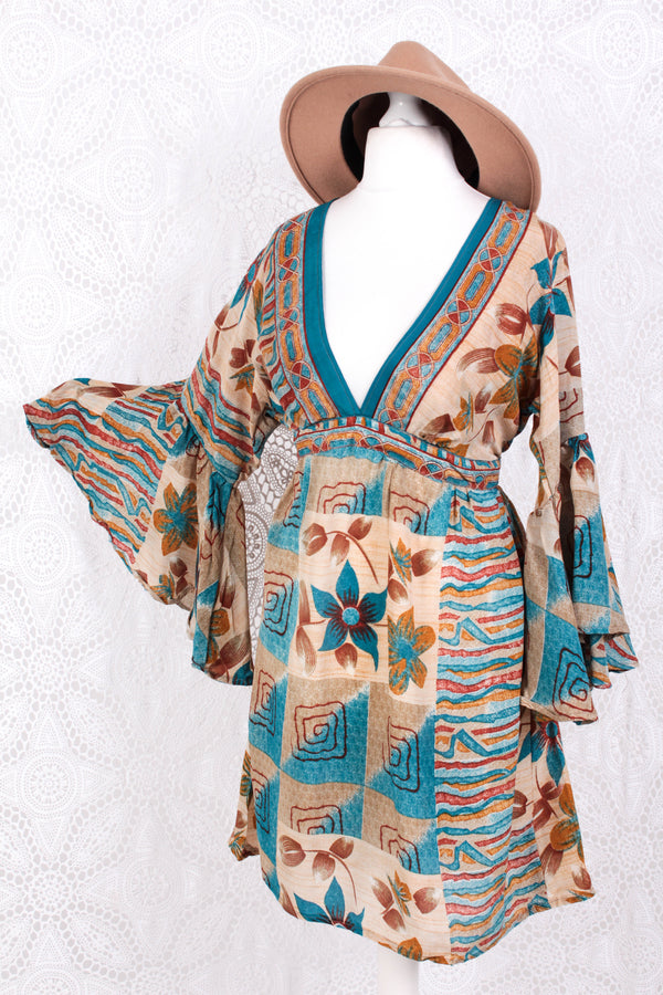 Pansy Mini Dress - Indian Sari - Circular Flounce Sleeve - Sand, Cerulean Blue & Ochre Bold Floral - Free Size M/L