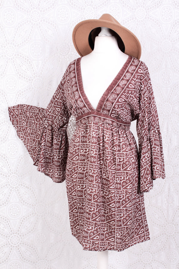 Pansy Mini Dress - Indian Sari - Circular Flounce Sleeve - Rose Taupe Tile Print - Free Size M/L