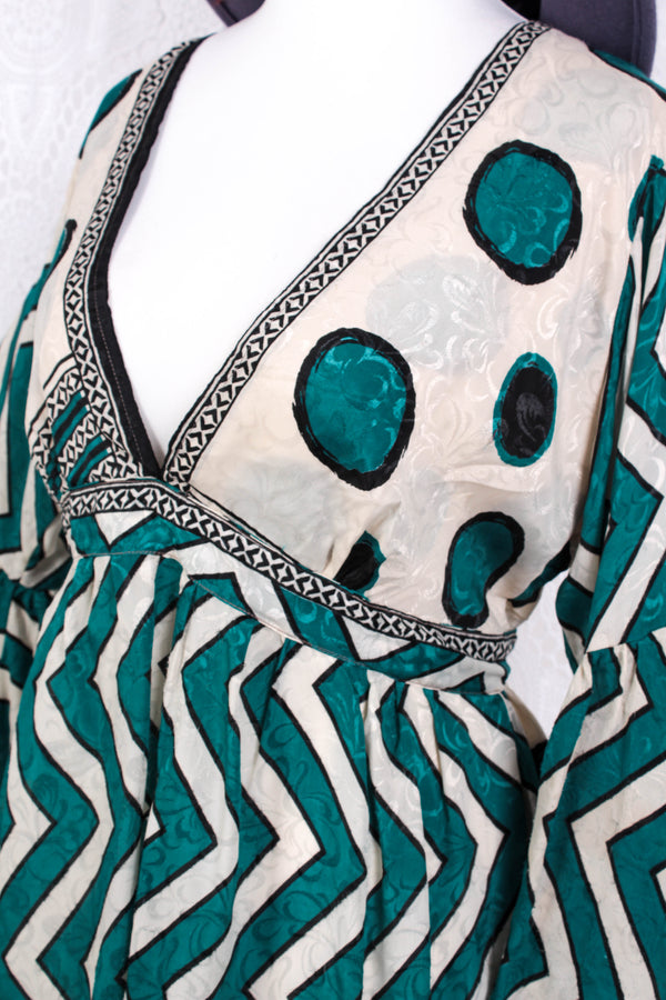 SALE - Pansy Mini Dress - Indian Sari - Circular Flounce Sleeve - Cream & Teal Zig Zag Spots - Free Size M/L