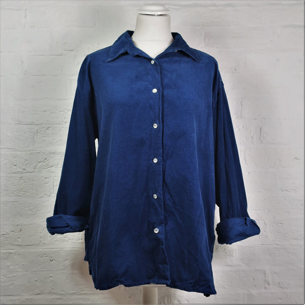 Vintage Oversized Corduroy Shirt - Royal Blue
