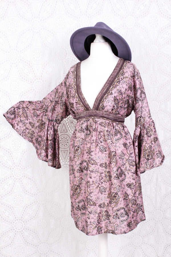 Pansy Mini Dress - Indian Sari - Circular Flounce Sleeve - Powder Pink, Mauve & Champagne Vine Print - Free Size M/L