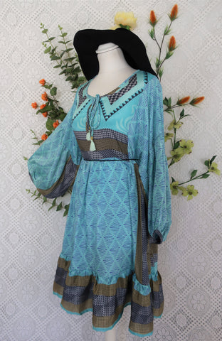 Poppy Mini Smock Dress - Vintage Sari - Icey Blue & Gold & Silver Graphic - S/M