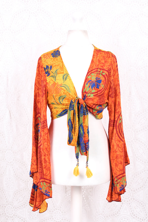 Gemini Wrap Top -  Vintage Sari - Tiger Orange, Prussian & Ruby Floral Swirl - S/M
