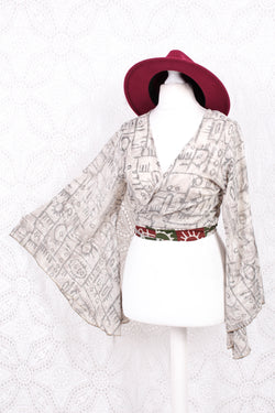 Gemini Wrap Top -  Vintage Sari - Snow & Crow Graphic - S/M