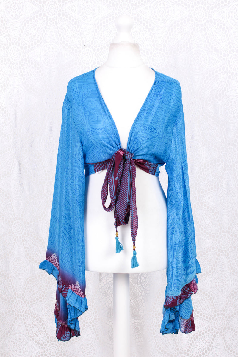 Venus Wrap Top -  Vintage Indian Sari - Cerulean & Plum Floral Paisley - L/XL