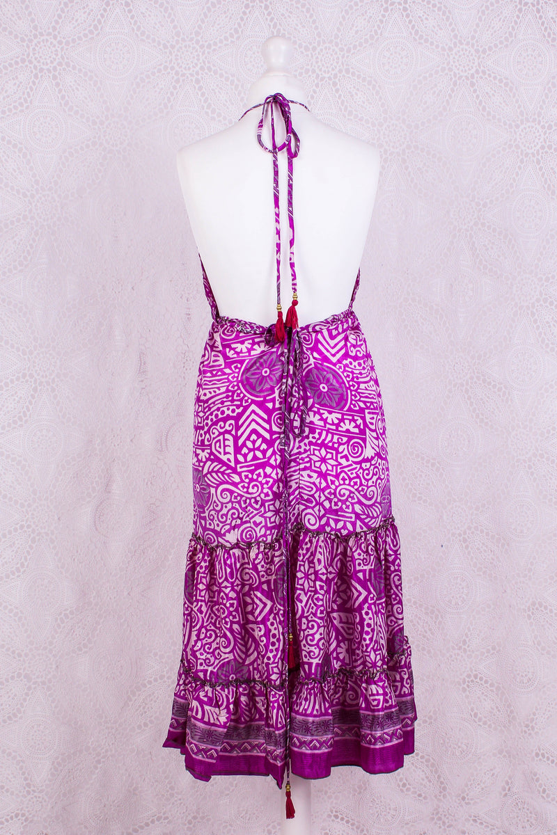 Cherry Mini Halter Dress - Vibrant Violet Vintage Sari (Free Size)