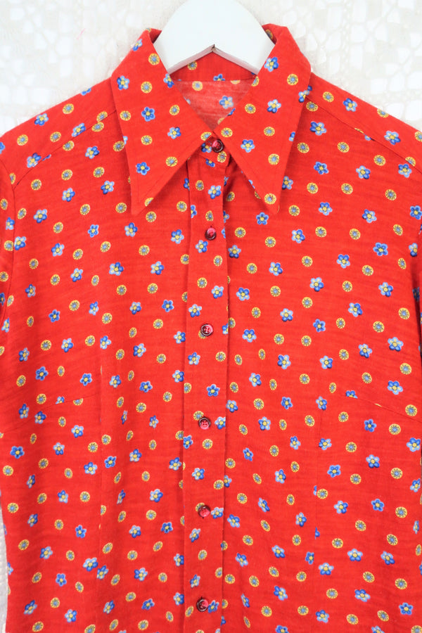 70's Vintage Shirt - Bright Red Flower & Sun Polka Dot - Size S/M