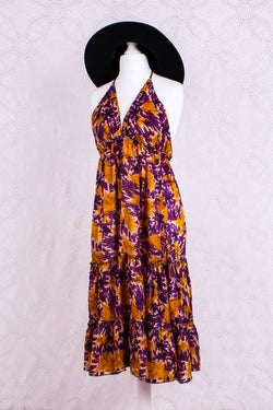 Cherry Mini Halter Dress - Sheer Yellow & Purple Abstract Vintage Sari (Free Size)