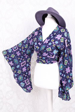 Sale Gemini Wrap Top - Vintage Indian Silk - Deep Purple & Bright Tapestry - M/L
