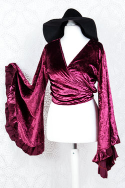 Velvet Venus Wrap Top - Rich Velvet - Mulberry Purple - L/XL