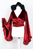 Velvet Venus Wrap Top - Rich Velvet - Ruby Red - S/M