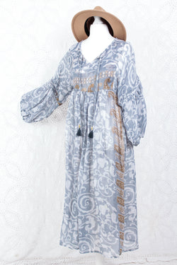 Daisy Midi Smock Dress - Vintage Indian Polycotton - Sheer Grey Floral - XS