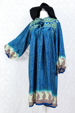 Daphne Smock Dress - Vintage Indian Sari - Blue & Green Paisley - S/M