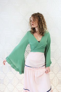 Venus Wrap Top - Block Colour - Sage Green - M/L