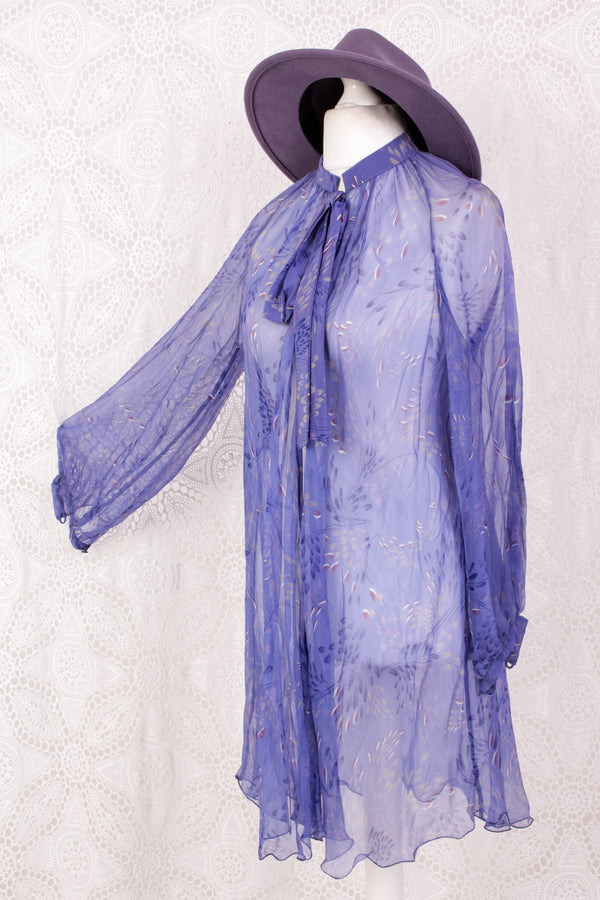 Vintage 70s Negligee - Sheer Lavender Floral - Free Size L/XL