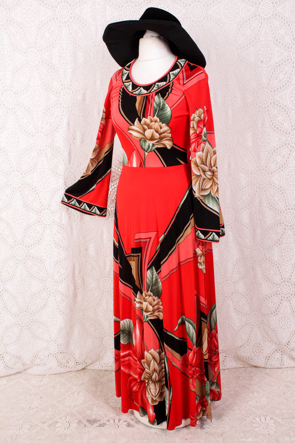 Vintage Dress - Bright Red & Black Graphic Floral - Size XS