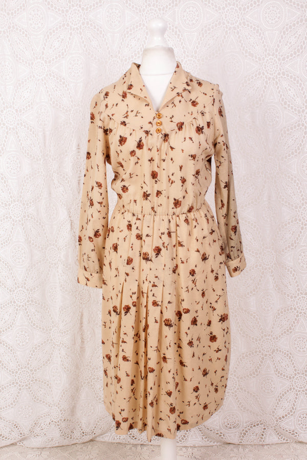Vintage Dress - Muted Yellow Floral - Size S/M