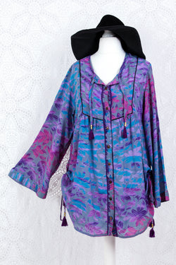 Jude Tunic Top - Vintage Indian Sari - Grey & Purple Watercolour Floral (M/L)