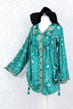 Jude Tunic Top - Vintage Indian Sari - Teal & Gold Shimmer (XS)