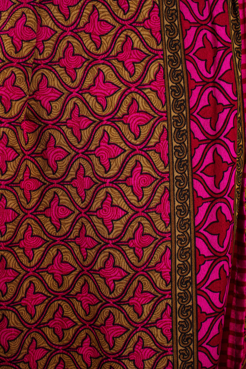 Sylvia Wrap Dress - Vintage Indian Sari - Biscotti & Magenta Tile Print (XS - S/M)