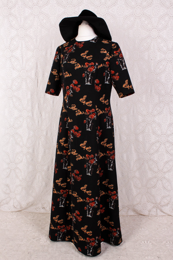 Vintage Dress - Jet Black with Fanned Sycamore Illustration - Size M/L